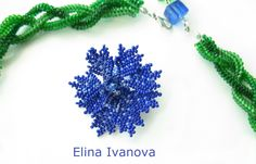 Beaded flower necklace cornflowers exclusive by Elinawonderland