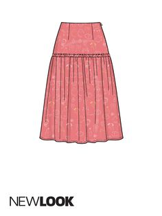 Misses' skirts with waist yoke & hem variations; View A | New Look Patterns Skirt Patterns Sewing, Vogue Patterns, New Look Patterns, Dress Design Sketches, Types Of Skirts, Skirt Pants, Fashion Flats, Summer Collection, Designer Dresses