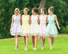 Pastel colour bridesmaid dresses <3