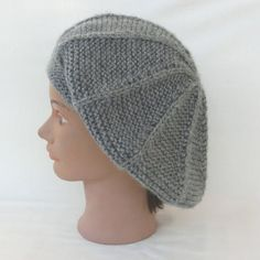 Bonnet béret slouchy femme, tricot fantaisie, en laine chunky gris, tricoté  main,. Un grand marché dfc637c28d4