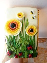 Garden ladybug artistic cake