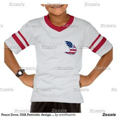 Peace Dove. USA Patriotic design T-Shirts and sweatshirts for kids. Perfect gift for 4th of July / Flag Day / Patriot Day / Any Occasion. Matching cards, postage stamps and other products available in the Holidays / 4th of July Category of the artofmairin store at zazzle.com