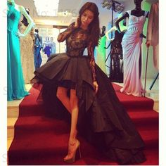 Find More Evening Dresses Information about 2016 Fashion Black Bateau Lace Bodice Prom Dress Long Sleeve Asymmetrical Party Gown Puffy Evening Dress Formal Gown,High Quality gown city dresses,China dress sling Suppliers, Cheap dress applique from Kingshow Bridal on Aliexpress.com