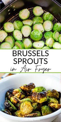 Air Fryer Recipes Keto, Air Frier Recipes, Air Fryer Dinner Recipes, Healthy Recipes, Ninja Recipes, Healthy Dinners, Air Fryer Recipes Brussel Sprouts, Balsamic Brussel Sprouts, Brussels Sprouts
