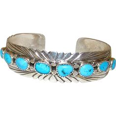 30%OFF TODAY ONLY Native American Navajo Sterling Silver Turquoise Cuff Bracelet