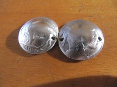 Handmade domed double drilled bracelet beads (10) out of original buffalo nickel…
