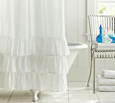 """shower curtain with three tiers of wide  ruffles at bottom, cotton voile, 72"""" square, no pattern"""