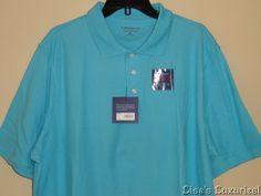 NWT Men's CROFT & BARROW Signature Pique Polo Shirt XL Aqua #CroftBarrow #PoloRugby