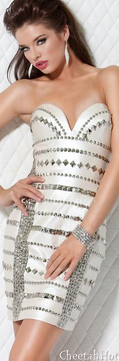 JOVANI - Authentic Designer - Strapless Studded Short Dress