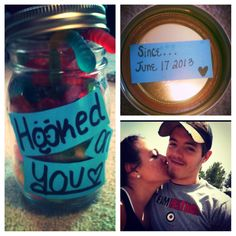 A gift I made for my boyfriend. A jar full of gummy worms since our first date was fishing that's were the photo came from of us:)