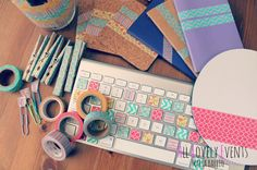 I feel like I need to get in on this whole washi tape thing now. Washi Your Workspace: 8 Quick DIY Projects via Brit + Co. Washi Tape Uses, Masking Tape, Washi Tapes, Washi Tape Keyboard, Funky Keyboard, Keyboard Letters, Keyboard Cover, Diy Simple, Cute Diy Projects