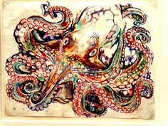 Octapus Watercolor - Walter Anderson Museum - Ocean Springs, Louisiana *contrast *abstract rendering of a definite subject *use of color for shading Walter Anderson, Audubon Prints, Octopus Art, Portraits, Watercolor Drawing, Outsider Art, Heart Art, American Artists, Painting Inspiration