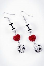 """Ohrhänger """"I love Football"""" crystal  Fußball ist für Dich Herzenssache? Zeig' es mit diesem aussagekräftigen Ohrhänger!"""