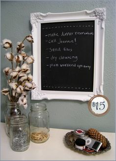 Spray paint. Cheap frame. Chalkboard paint. Instant grocery list keeper.