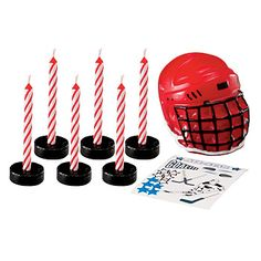 Our Hockey Candle Set  features one hockey mask, six puck candle holders and ten birthday candles along with a sheet of hockey themed decals.