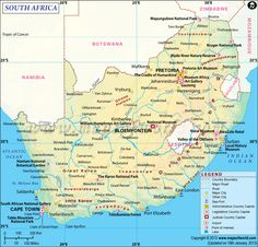 South Africa Map - Detailed Map of South Africa South Africa Map, Asia Map, Tom Burke, Pretoria, Zimbabwe, Port Elizabeth South Africa, African Holidays, Country Maps, Travel Activities