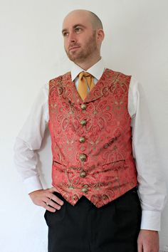The Brandybuck - Men's Red Brocade Steampunk Vampire Ringmaster Waistcoat. £66.00, via Etsy.
