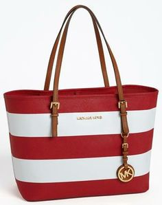 548b4bfac93c #Red and #White stripe saffiano leather with gold-tone hardware and MK logo