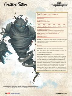 D Creature Feature- Lesser Air Elemental Dungeons And Dragons 5e, Dungeons And Dragons Homebrew, Cool Monsters, Dnd Monsters, Magical Creatures, Fantasy Creatures, Curious Creatures, Dnd Stats, Dnd Races