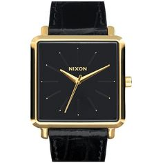 Nixon 'The K Squared' Leather Strap Watch, 32mm x 30mm ($150) ❤ liked on Polyvore featuring jewelry, watches, black jewelry, polish jewelry, nixon watches, kohl jewelry and square watches