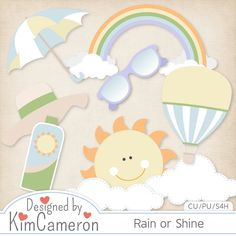 Rain or Shine - Spring Summer - Layered PSD Templates with PNG by Kim Cameron for Digital Scrapbooking #CUDigitals