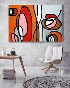 Vibrant Colorful Abstract-0-48. Mid-Century Modern Red Orange Canvas Art Print, Mid Century Modern Canvas Art Print up to 72 by Irena Orlov