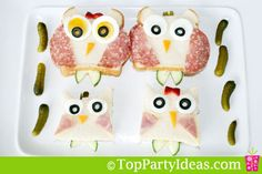Owl Party Sandwiches- this is taking it too far. 5th Birthday, Birthday Ideas, Birthday Parties, Owl Party Food, Owl Parties, Party Themes, Party Ideas, Party Sandwiches, Graduation Ideas