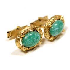 Green Glass Cuff Links by MisterBibs on Etsy