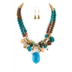 Chunky Mix Bead Necklace Set | Touch of turquoise blue for a country feel