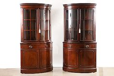 Pair Of American Mahogany Corner Cabinets By Drexel