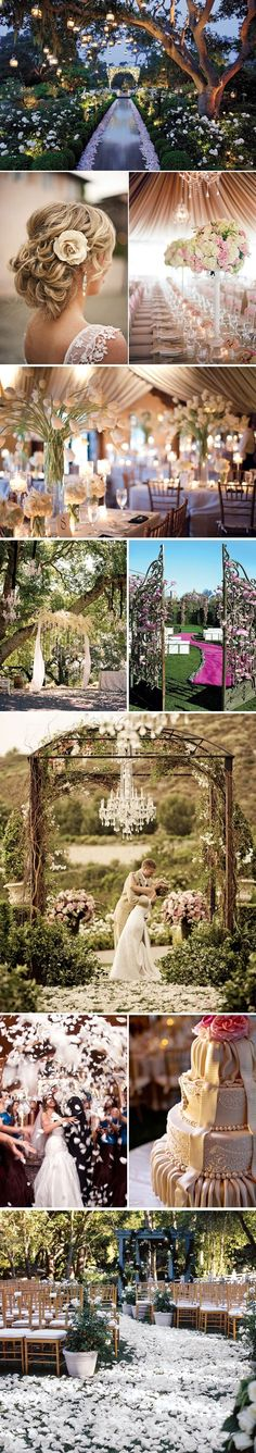 Romantic wedding Ideas - love the lighting and white flowers against the grass- great lighting idea