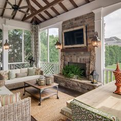 Porch Fireplace Design Ideas, Pictures, Remodel, and Decor - page 2