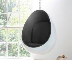 Hängesessel Eye Ball 90x120 weiss schwarz Höhe variabel, Sessel