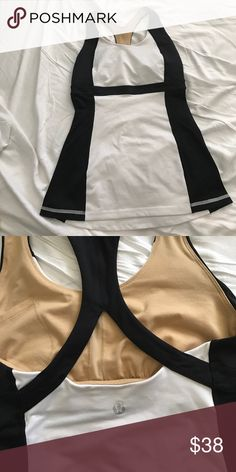 Training top Lululemon black and white top with built in bra lululemon athletica Tops Tank Tops
