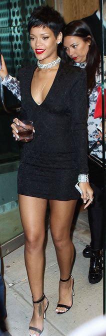 Rihanna: Dress – Balmain  Shoes – Manolo Blahnik