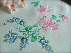 Check out this item in my Etsy shop https://www.etsy.com/uk/listing/522397567/hand-embroidered-vintage-pink-rose-linen