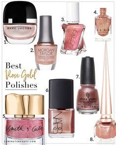 """I know this color has been """"in"""" for a while now, but I'm still pretty obsessed with Rose Gold and can't get enough of it! I have Rose Gold everything, so of course I've been loving Rose Gold Nail Polish as well! It turns out that there are surprisingly fe Pink Gold Nails, Rose Gold Nail Polish, Pink Polish, Nail Polish Colors, Pink And Gold, Nail Polishes, Pink Glitter, Funky Nails, Trendy Nails"""