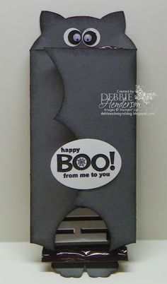 Bat Chocolate Bar Holder. Stampin' Up! products by Debbie Henderson, Debbie's Designs.
