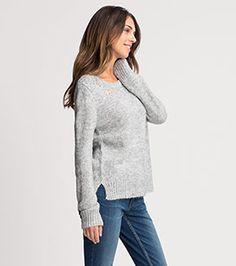 Femme Pull en maille en gris clair chiné –  prix bas sur la boutique en ligne C&A !