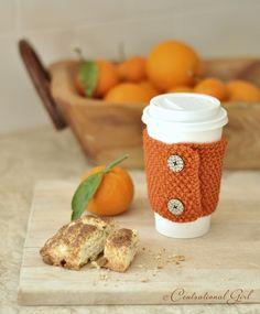 orange coffee cozy Tea cozy Mug warmer Coffee Cup Cozy, Mug Cozy, Yarn Projects, Knitting Projects, Loom Knitting, Knitting Patterns, Knitting Ideas, Knitting Needles, Coffee Sleeve