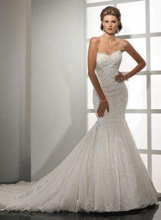 robe de mariée sirène tulle et applications de dentelle