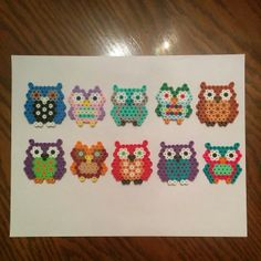 Owl necklace pendents perler beads by ashcassell