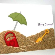 A #summer card that uses sandpaper to imitate beach sand!  #cardmaking