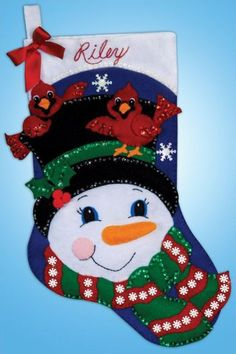 Snowman and Cardinals Christmas Stocking - Felt Applique Kit Merry Stockings, Felt Christmas Stockings, Felt Stocking, Felt Christmas Ornaments, Christmas Snowman, Christmas Holidays, Christmas Decorations, Stocking Ideas, Christmas Projects