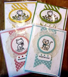 Maria's baby cards using Pretty Kitty, And Many More, Delicate White Doilies, Ticket Punch, & Sparkle embossing folder - all from Stampin' Up! Dog Cards, Baby Cards, Kids Cards, Pretty Cats, Pretty Kitty, Stampin Up Catalog, Stamping Up Cards, Marianne Design, Animal Cards