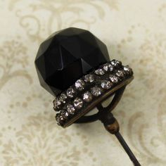 Antique Victorian Jet Black Bead Rhinestone Metal by scdvintage, $25.00