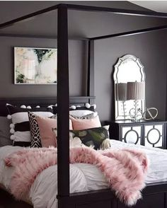 Dark Grey Bedroom with oink accents