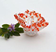 Fused glass candle holder, tea light, votive, transparent, orange, clear by caroline4art on Etsy