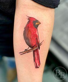 Small Cardinal Tattoo, Cardinal Bird Tattoos, Red Bird Tattoos, Skull Tattoos, Tattoos For Guys, Cool Tattoos, Bright Tattoos, Simple Skull, Real Tattoo