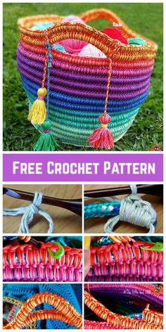 DIY Crochet Rainbow Rope Basket Free Pattern